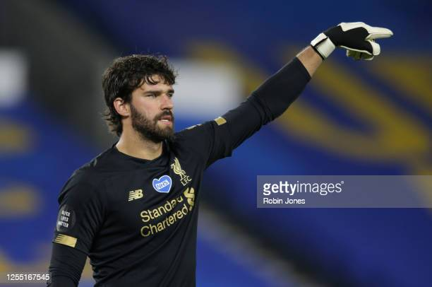 Alisson Becker of Liverpool during the Premier League match between Brighton Hove Albion and Liverpool FC at American Express Community Stadium on...