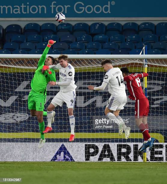 Alisson Becker of Liverpool during the Premier League match between Leeds United and Liverpool at Elland Road on April 19, 2021 in Leeds, England....