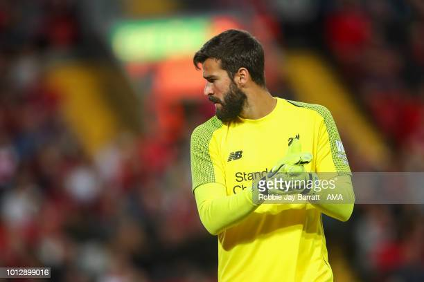 Alisson Becker of Liverpool during the preseason friendly between Liverpool and Torino at Anfield on August 7 2018 in Liverpool England
