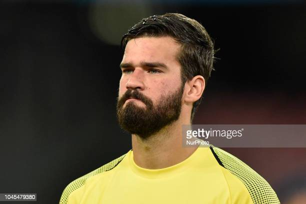 Alisson Becker of Liverpool during the UEFA Champions League group C match between SSC Napoli and Liverpool FC at Stadio San Paolo Naples Italy on 3...
