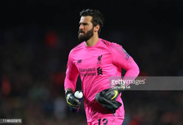 Alisson Becker of Liverpool during the UEFA Champions League Semi Final first leg match between Barcelona and Liverpool at the Nou Camp on May 01...
