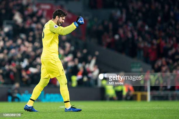 Alisson Becker of Liverpool FC celebrate after he's team score 1st goal during the Premier League match between Liverpool FC and Crystal Palace at...