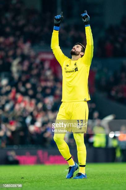 Alisson Becker of Liverpool FC celebrate after he's team score goal during the Premier League match between Liverpool FC and Crystal Palace at...
