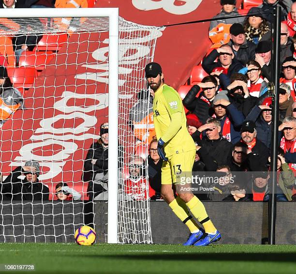 Alisson Becker of Liverpool FC during the Premier League match between Liverpool FC and Fulham FC at Anfield on November 11 2018 in Liverpool United...