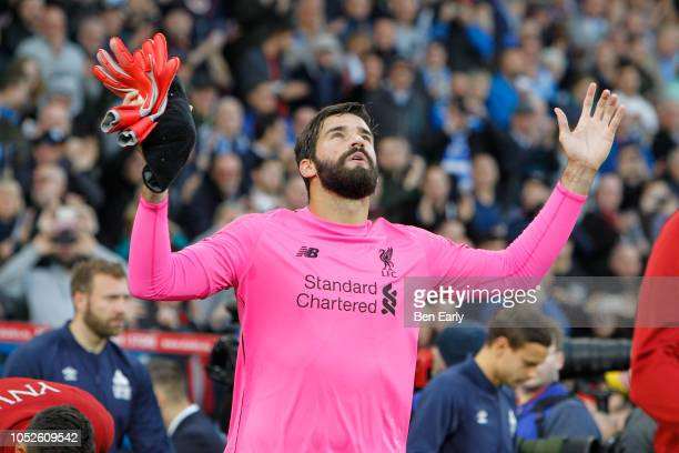 Alisson Becker of Liverpool FC during the Premier League match between Huddersfield Town and Liverpool FC at John Smith's Stadium on October 20 2018...