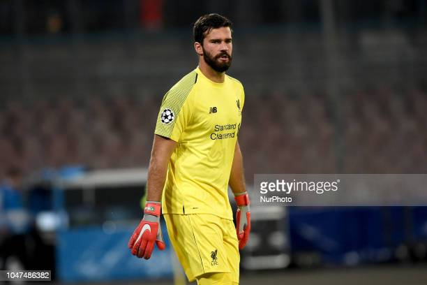 Alisson Becker of Liverpool FC during the UEFA Champions League match between SSC Napoli and Liverpool at Stadio San Paolo Naples Italy on 3 October...