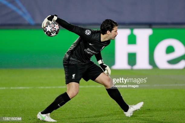 Alisson Becker of Liverpool FC during the UEFA Champions League match between Real Madrid v Liverpool at the Estadio Alfredo Di Stefano on April 6,...
