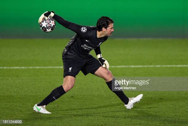 Alisson Becker of Liverpool FC in action during the UEFA Champions League Quarter Final match between Real Madrid and Liverpool FC at Estadio Alfredo...