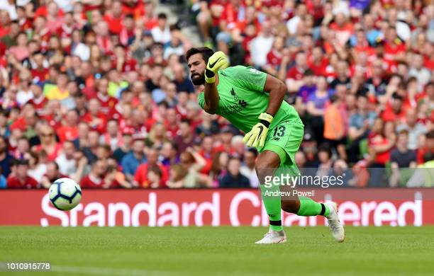 Alisson Becker of Liverpool in action during the pre season friendly match between Liverpool and Napoli at Aviva Stadium on August 4 2018 in Dublin...