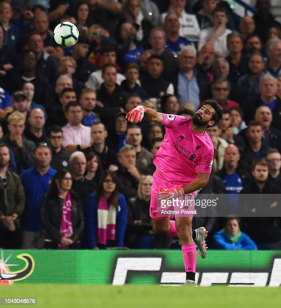 Alisson Becker of Liverpool in action during the Premier League match between Chelsea FC and Liverpool FC at Stamford Bridge on September 29 2018 in...