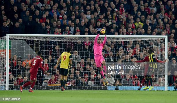 Alisson Becker of Liverpool in action during the Premier League match between Liverpool FC and Watford FC at Anfield on February 27 2019 in Liverpool...