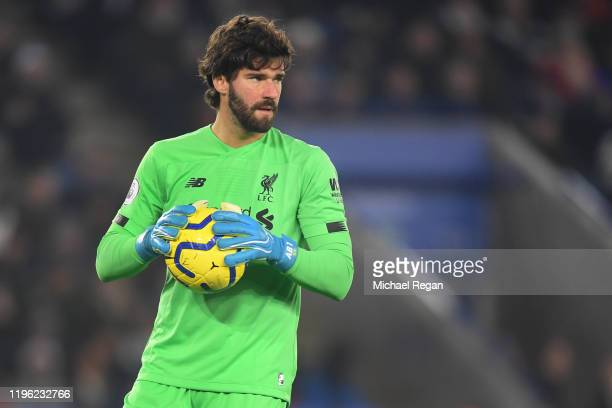 Alisson Becker of Liverpool in action during the Premier League match between Leicester City and Liverpool FC at The King Power Stadium on December...