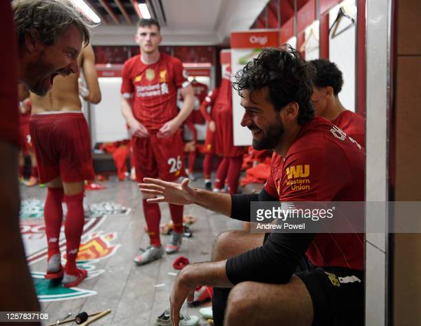 Alisson Becker of Liverpool in the dressing room after winning the Premier league at the end of the Premier League match between Liverpool FC and...