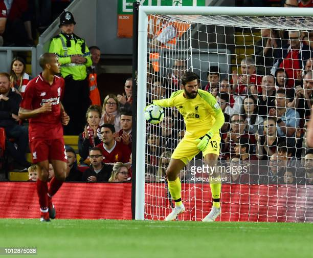 Alisson Becker of Liverpool powers through during the PreSeason friendly match between Liverpool and Torino at Anfield on August 7 2018 in Liverpool...