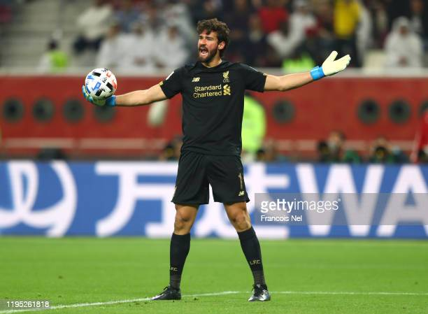 Alisson Becker of Liverpool reacts during the FIFA Club World Cup Qatar 2019 Final between Liverpool FC and CR Flamengo at Education City Stadium on...