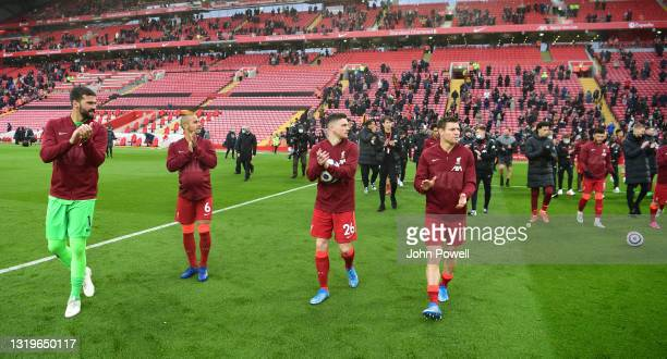 Alisson Becker of Liverpool Thiago Alcantara of Liverpool Andy Robertson of Liverpool James Milner of Liverpool during the Premier League match...