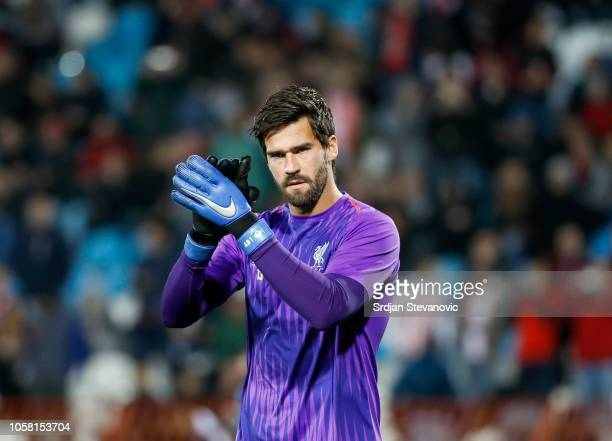 Alisson Becker of Liverpool warmup prior to the Group C match of the UEFA Champions League between Red Star Belgrade and Liverpool at Rajko Mitic...