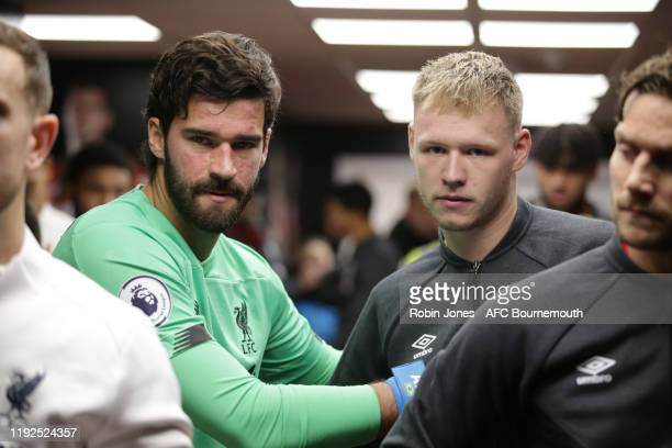 Alisson Becker of Liverpool with Aaron Ramsdale of Bournemouth in the tunnel before the Premier League match between AFC Bournemouth and Liverpool FC...