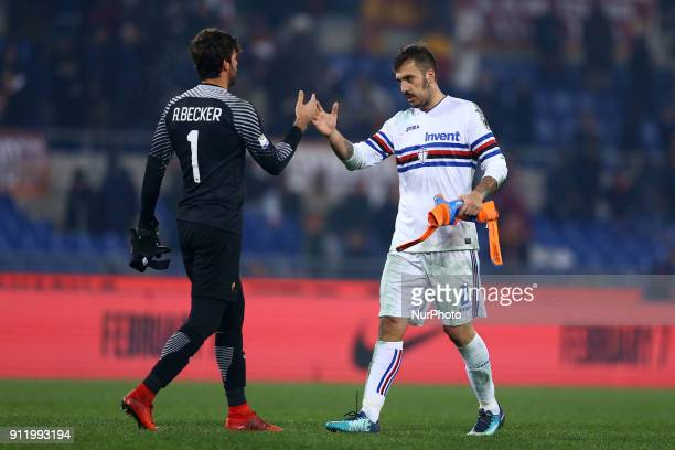Alisson Becker of Roma and Emiliano Viviano of Sampdoria during the Italian Serie A football match between AS Roma and Sampdoria at the Olympic...