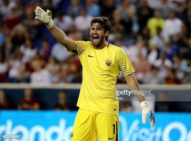 Alisson Becker of Roma directs his teammates in the first half against Tottenham Hotspur during the International Champions Cup on July 25 2017 at...