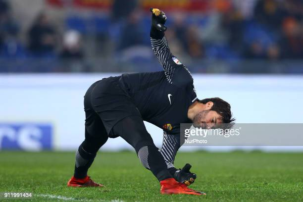 Alisson Becker of Roma during the Italian Serie A football match between AS Roma and Sampdoria at the Olympic Stadium in Rome on Janaury 28 2018