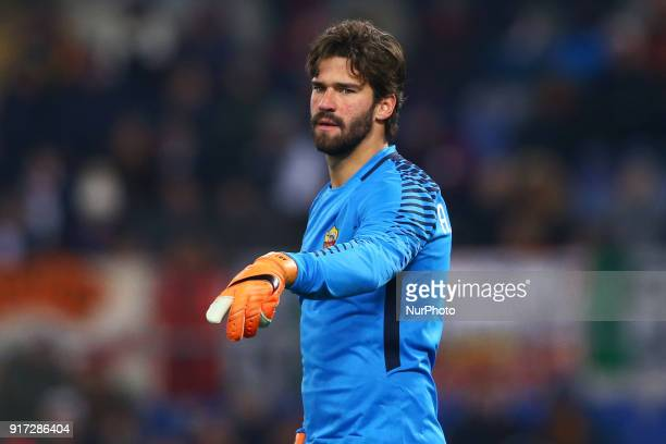 Alisson Becker of Roma during the serie A match between AS Roma and Benevento Calcio at Stadio Olimpico on February 11 2018 in Rome Italy