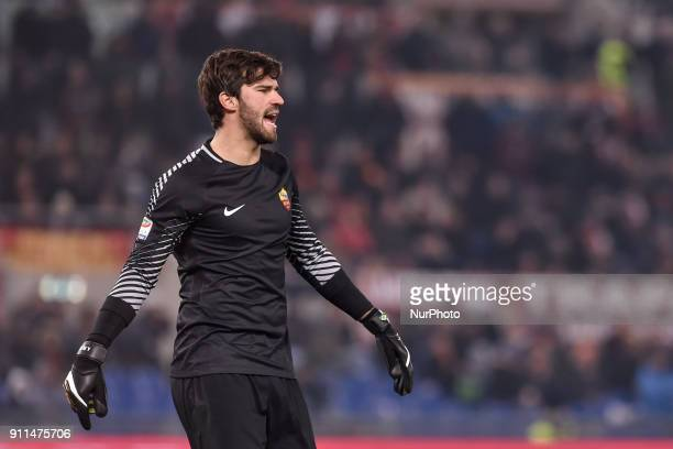 Alisson Becker of Roma during the Serie A match between Roma and Sampdoria at Olympic Stadium Roma Italy on 28 January 2018