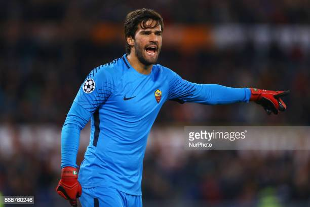 Alisson Becker of Roma during the UEFA Champions League football match AS Roma vs Chelsea on October 31 2017 at the Olympic Stadium in Rome