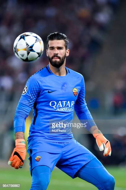 Alisson Becker of Roma during the UEFA Champions League Semi Final match between Roma and Liverpool at Stadio Olimpico Rome Italy on 2 May 2018