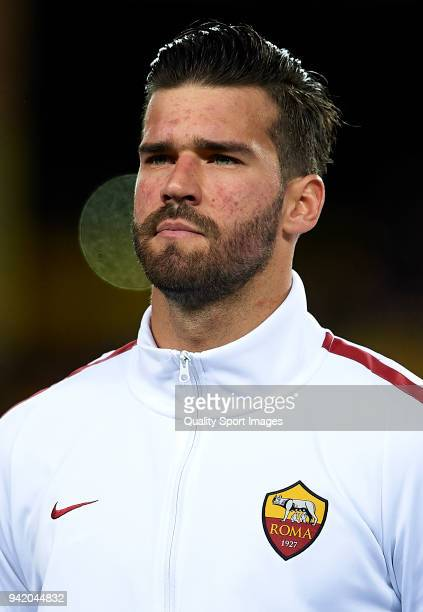 Alisson Becker of Roma looks on prior to the UEFA Champions League Quarter Final Leg One match between FC Barcelona and AS Roma at Camp Nou on April...