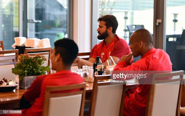 Alisson Becker Roberto Firmino and Fabinho of Liverpool behindthescenes at Melwood Training Ground on August 5 2018 in Liverpool England