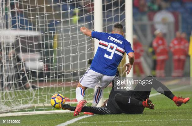Alisson Becker ward off a shot during the Italian Serie A football match between AS Roma and Sampdoria at the Olympic Stadium in Rome on janaury 28...