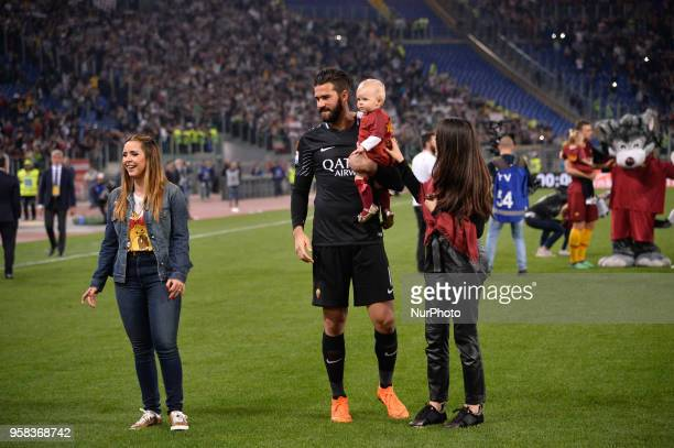 Alisson Becker with his daughter after the Italian Serie A football match between AS Roma and FC Juventus at the Olympic Stadium in Rome on may 13...