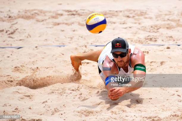 Alisson Cerutti in action during a beach volleyball match on the 4th stage of the season 2012/2013 Bank of Brazil Circuit at Taquaral Park on...