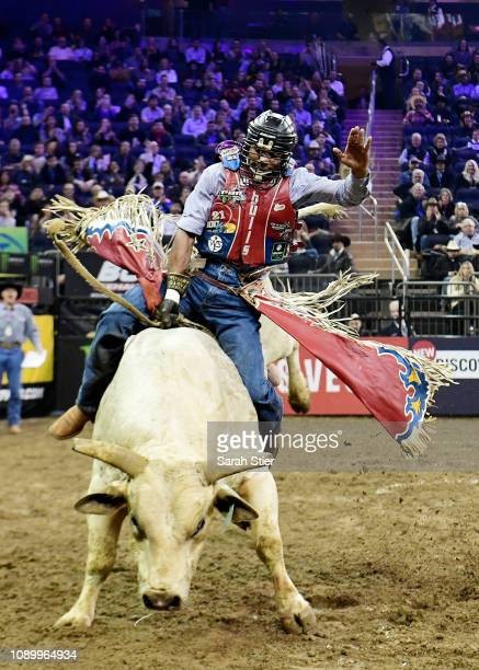 Alisson De Souza rides Force Awaken during the PBR Unleash the Beast bull riding event at Madison Square Garden on January 04 2019 in New York City