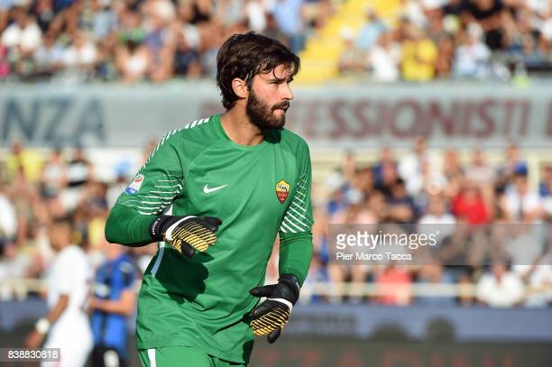 Alisson goalkeeper of AS Roma in action during the Serie A match between Atalanta BC and AS Roma at Stadio Atleti Azzurri d'Italia on August 20 2017...