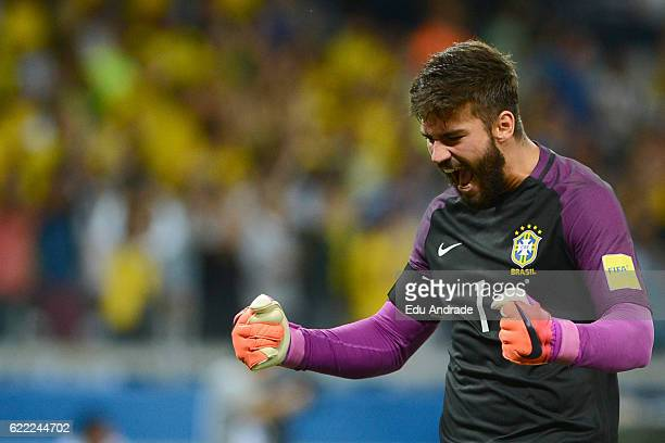 Alisson goalkeeper of Brazil celebrates after Paulinho scored the third goal of his team during a match between Argentina and Brazil as part of FIFA...