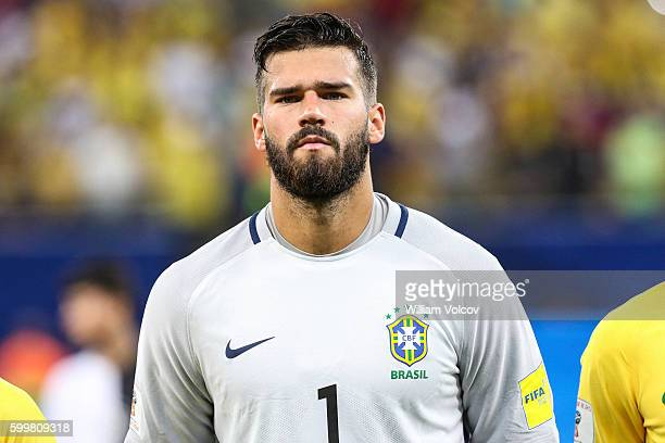 Alisson goalkeeper of Brazil looks on prior a match between Brazil and Colombia as part of FIFA 2018 World Cup Qualifiers at Arena Amazonia Stadium...