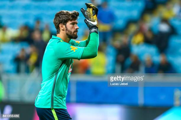 Alisson goalkeeper of Brazil warns up before the match Brazil v Equador 2018 FIFA World Cup Russia Qualifier at Arena do Gremio on August 31 in Porto...