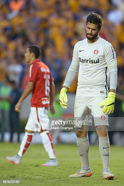 Alisson goalkeeper of Inter reacts after receiving a goal during a semifinal second leg match between Tigres UANL and Internacional as part of Copa...