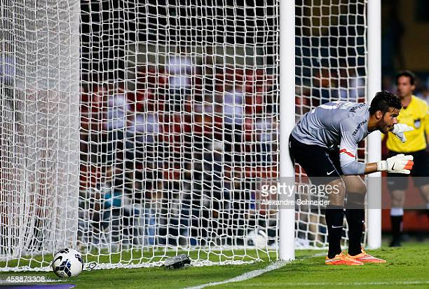 Alisson goalkeeper of Internacional in action during the match between Sao Paulo and Internacional for the Brazilian Series A 2014 at Morumbi stadium...