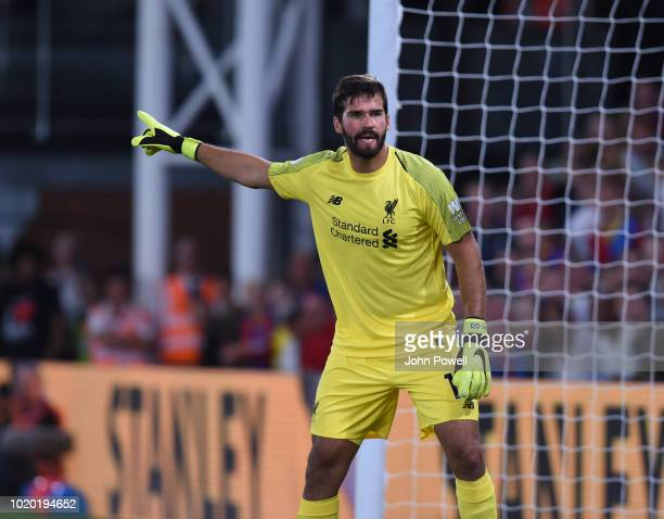 Alisson goalkeeper of Liverpool gestures during the Premier League match between Crystal Palace and Liverpool FC at Selhurst Park on August 20 2018...