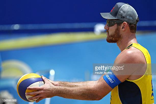 Alisson in action during a match for the 5th stage of the season 2012/2013 of Banco do Brasil Beach Volleyball Circuit on November 16 2012 in...
