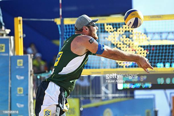 Alisson in action during a match for the 5th stage of the season 2012/2013 of Banco do Brasil Beach Volleyball Circuit on November 17 2012 in...