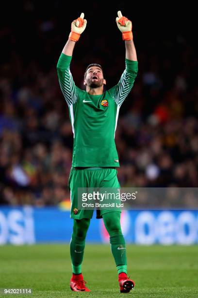 Alisson of AS Roma celebrates after his sides first goal during the UEFA Champions League Quarter Final first leg match between FC Barcelona and AS...