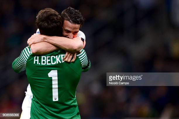 Alisson of AS Roma celebrates with Alessandro Florenzi after making an assist during the Serie A football match between FC Internazionale and AS Roma...