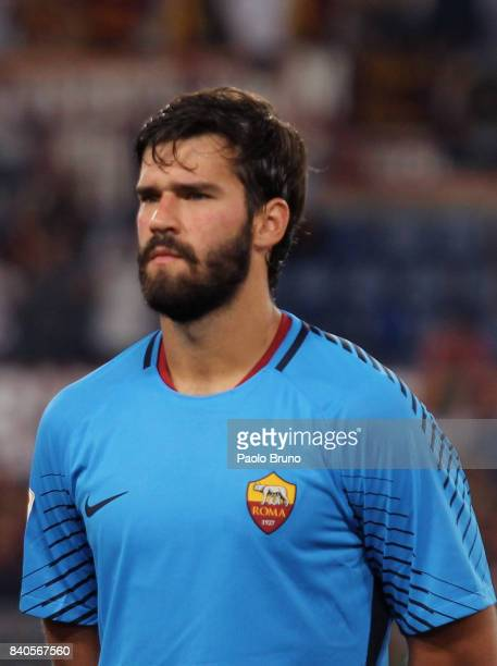 Alisson of AS Roma looks on during the Serie A match between AS Roma and FC Internazionale on August 26 2017 in Rome Italy