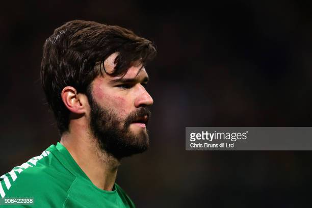 Alisson of AS Roma looks on during the Serie A match between FC Internazionale and AS Roma at Stadio Giuseppe Meazza on January 21 2018 in Milan Italy