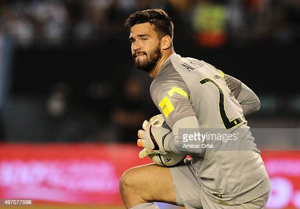 Alisson of Brazil catches the ball during a match between Argentina and Brazil as part of FIFA 2018 World Cup Qualifiers at Monumental Antonio...