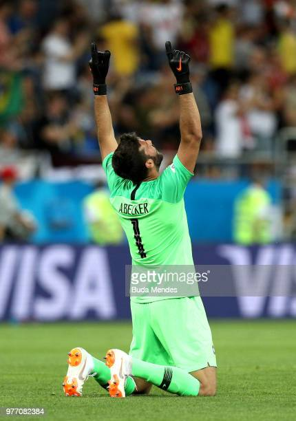 Alisson of Brazil celebrates after team mate Philippe Coutinho scores his team's first goal during the 2018 FIFA World Cup Russia group E match...